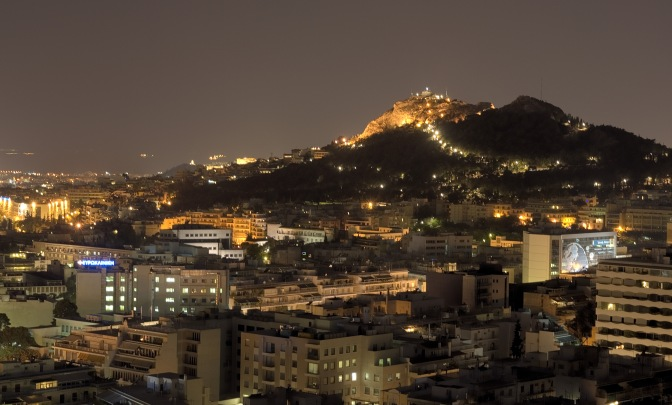 View of Mount Lycabettus Hill at Night