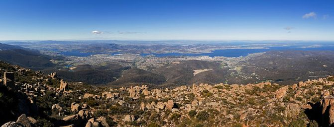 View from the top of Mount Wellington