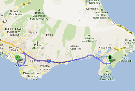 Route from Waikiki Beach to Hanauma Bay