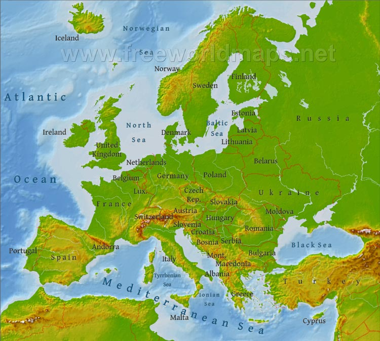 Europephysicalmap A Global Affair - Europe physical map