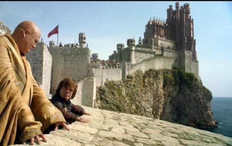 Conleth Hill and Peter Dinklage performing a scene in King's Landing. The Red Keep castle was added in post, the rest was shot in Croatia. Source:  http://media3.policymic.com