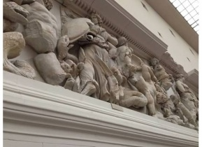 Greek gods adorn the walls of the Pergamon art museum