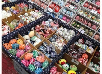 Gorgeous colored Easter eggs are Prague's specialties this time of year.