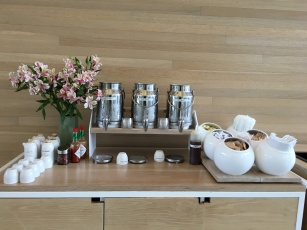 Coffee anyone? Only a museum can arrange the accompaniments like the perfect still life composition.